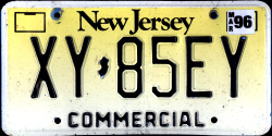 New Jersey Commercial Truck License Plate 1996