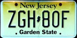 New Jersey License Plate 2009
