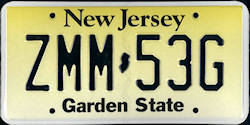 New Jersey License Plate 2010