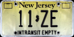 New Jersey In Transit Empty License Plate