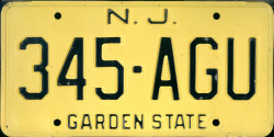 New Jersey License Plate 1973
