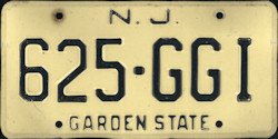 New Jersey License Plate 1977