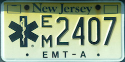 New Jersey EMT Emergency Medical Technician License Plate