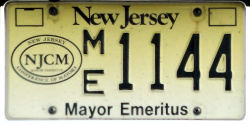 New Jersey Town City Mayor Emeritus License Plate