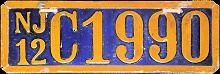 New Jersey Motorcycle License Plate 1912