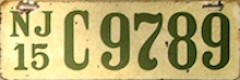 New Jersey Motorcycle License Plate 1915