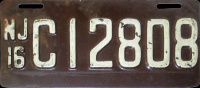 New Jersey Motorcycle License Plate 1916