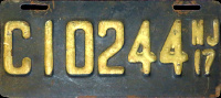 New Jersey Motorcycle License Plate 1917