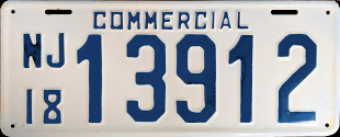 New Jersey Commercial Truck License Plate 1918