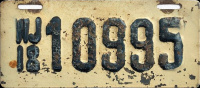New Jersey Motorcycle License Plate 1918