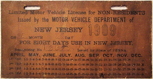 New Jersey Non-Resident Visitor License Plate