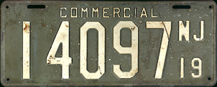 New Jersey Commercial Truck License Plate 1919