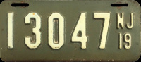 New Jersey Motorcycle License Plate 1919