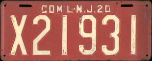 New Jersey Commercial Truck License Plate 1920