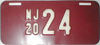New Jersey Motorcycle License Plate 1920