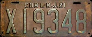New Jersey Commercial Truck License Plate 1921