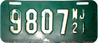New Jersey Motorcycle License Plate 1921