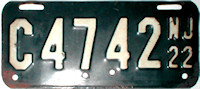 New Jersey Motorcycle License Plate 1922
