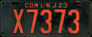 New Jersey Commercial Truck License Plate 1923
