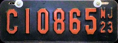 New Jersey Motorcycle License Plate 1923
