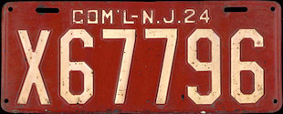New Jersey Commercial Truck License Plate 1924