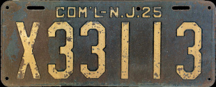 New Jersey Commercial Truck License Plate 1925