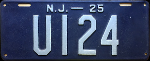 New Jersey Undertaker License Plate