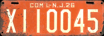 New Jersey Commercial Truck License Plate 1926
