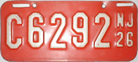 New Jersey Motorcycle License Plate 1926