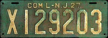 New Jersey Commercial Truck License Plate 1927