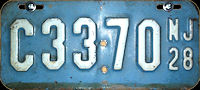 New Jersey Motorcycle License Plate 1928