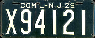 New Jersey Commercial Truck License Plate 1929