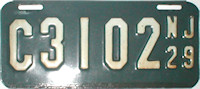 New Jersey Motorcycle License Plate 1929