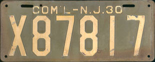 New Jersey Commercial Truck License Plate 1930