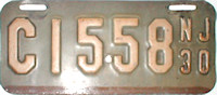 New Jersey Motorcycle License Plate 1930