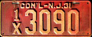 New Jersey Commercial Truck License Plate 1931