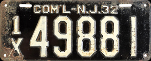 New Jersey Commercial Truck License Plate 1932