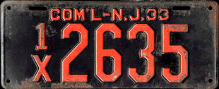 New Jersey Commercial Truck License Plate 1933
