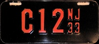 New Jersey Motorcycle License Plate 1933