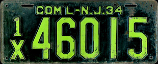 New Jersey Commercial Truck License Plate 1934