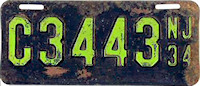 New Jersey Motorcycle License Plate 1934