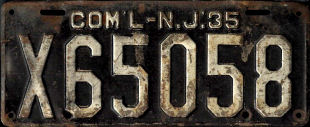 New Jersey Commercial Truck License Plate 1935