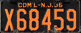 New Jersey Commercial Truck License Plate 1936