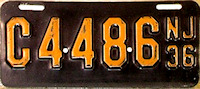 New Jersey Motorcycle License Plate 1936