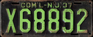 New Jersey Commercial Truck License Plate 1937