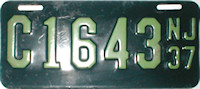 New Jersey Motorcycle License Plate 1937