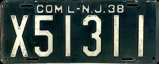 New Jersey Commercial Truck License Plate 1938
