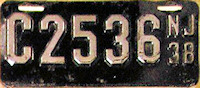 New Jersey Motorcycle License Plate 1938