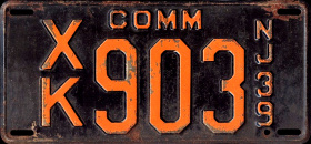 New Jersey Commercial Truck License Plate 1939