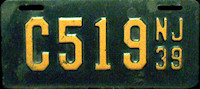New Jersey Motorcycle License Plate 1939